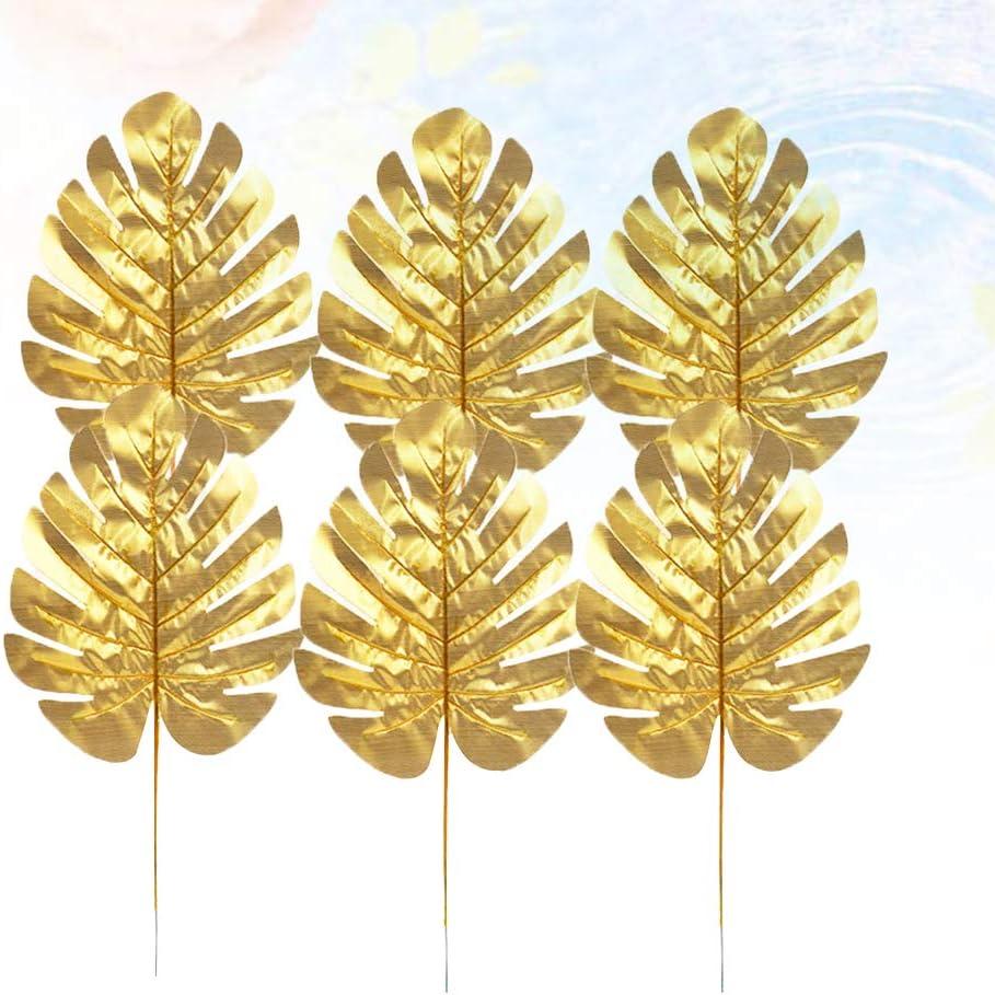 Amosfun Lot de 12 Feuilles de Palmier artificielles pour Plantes Tropicales dor/é Soie Small