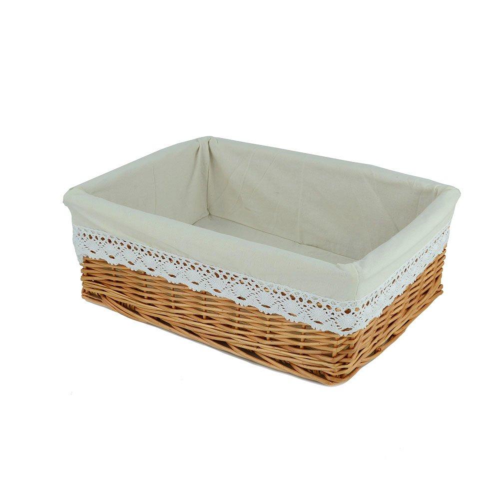 Rurality Rectangular Wicker Woven Storage Basket with Liner,Medium