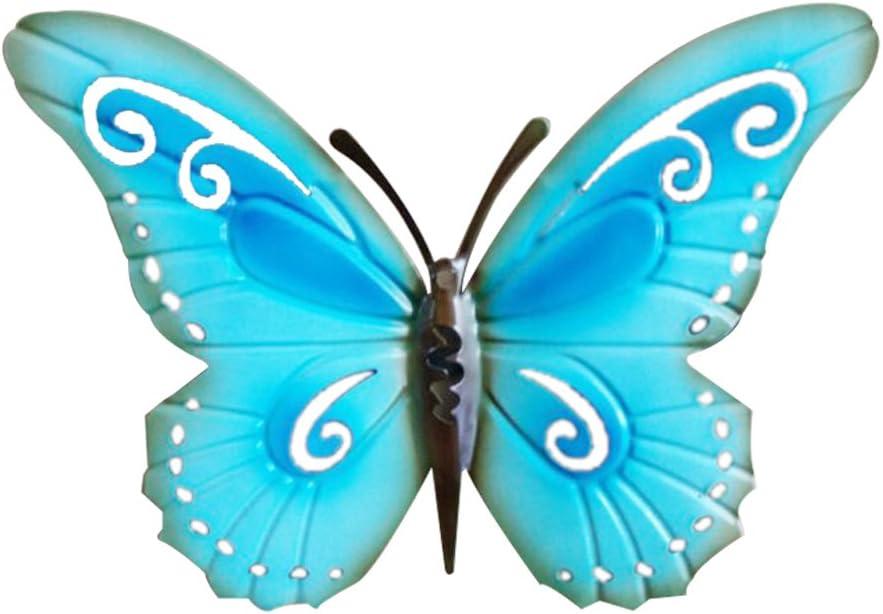 WINOMO Mariposa Metal Adorno Pared Decoración Colgante de Pared Azul 42 cm x 39 cm