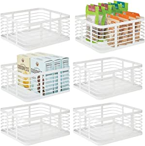 mDesign Farmhouse Decor Metal Wire Food Organizer Storage Bin Baskets for Kitchen Cabinets, Pantry, Bathroom, Laundry Room, Closets, Garage - 6 Pack - White