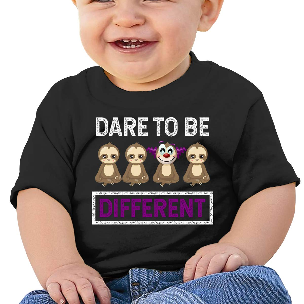 AiguanDare to Be Different Sloth Toddler//Infant Short Sleeve Cotton T Shirts Black 40