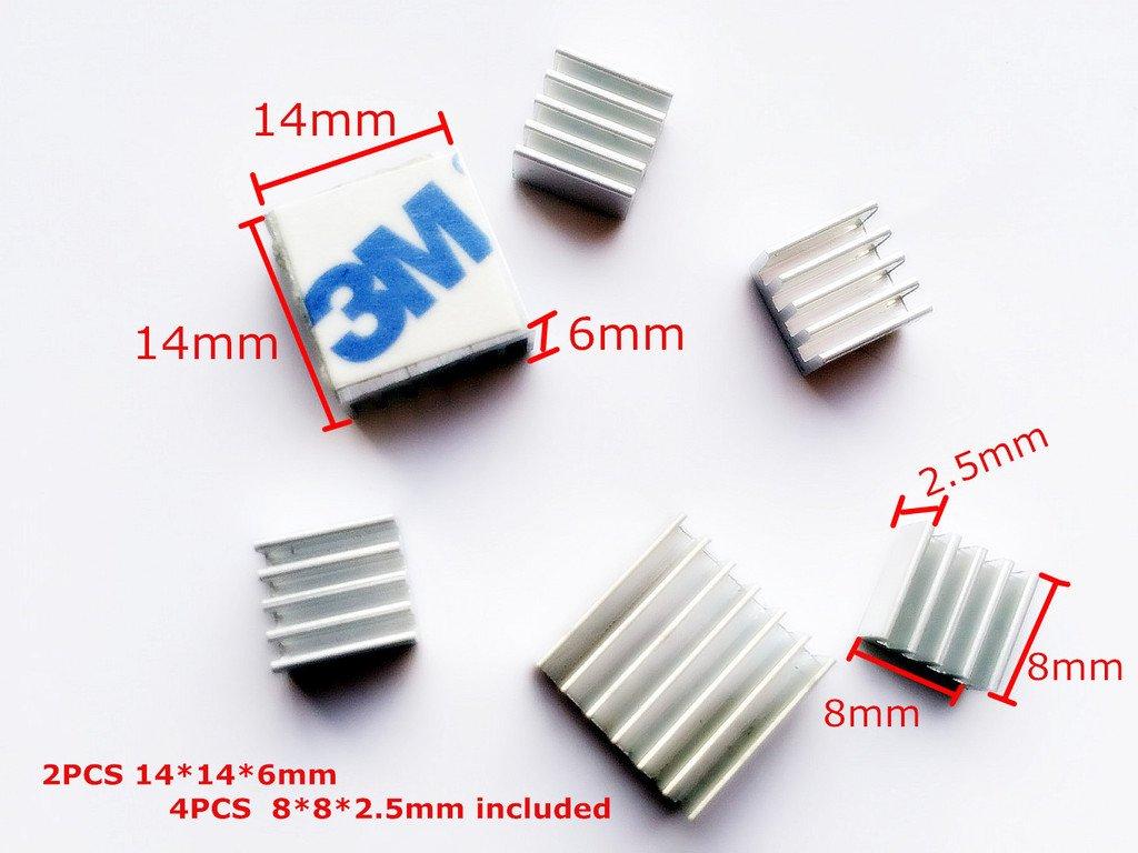 OdiySurveil(TM) 6Pcs Aluminum Chips VGA RAM Cooling Cooler Heatsink for IC MOSFET SCR,DIY for Raspberry Pi