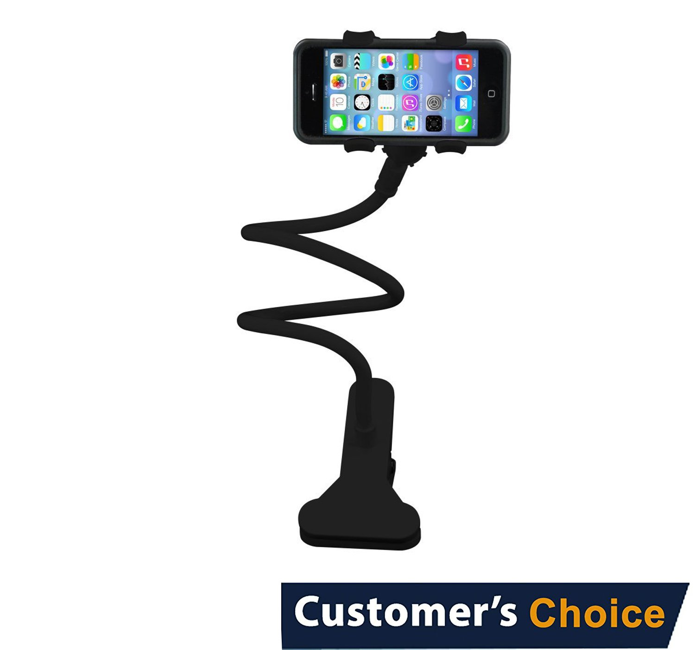 Audiology Connect 360 Adjustable Universal Gooseneck Smartphone Stand, Gooseneck Phone Holder, Lazy Mount Holder, Cell Phone Mount, Clip up to 5.7'' wide. Perfect for Bed, Desk, Kitchen, Black