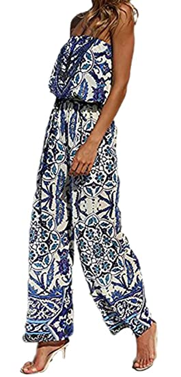 d6f0c8c4613 Amazon.com  Fubotevic Women African Print Drawstring Wide Leg Palazzo Pants  Strapless Rompers Overall Bodysuit  Clothing