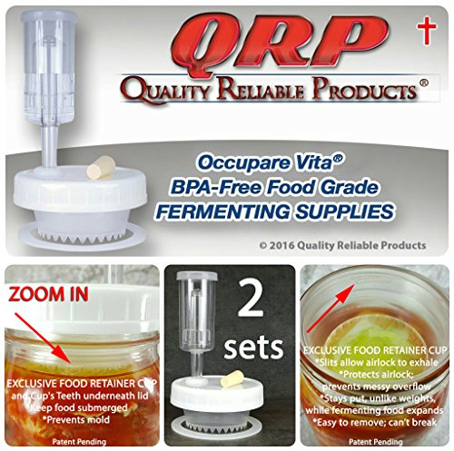 2 QRP No Messy Overflow No Weights Needed Mold-Proof Mason Jar Fermentation Kits with Exclusive Food Retainer Cups keep food submerged in brine (1 REGULAR MOUTH & 1 WIDE MOUTH) by Quality Reliable Products