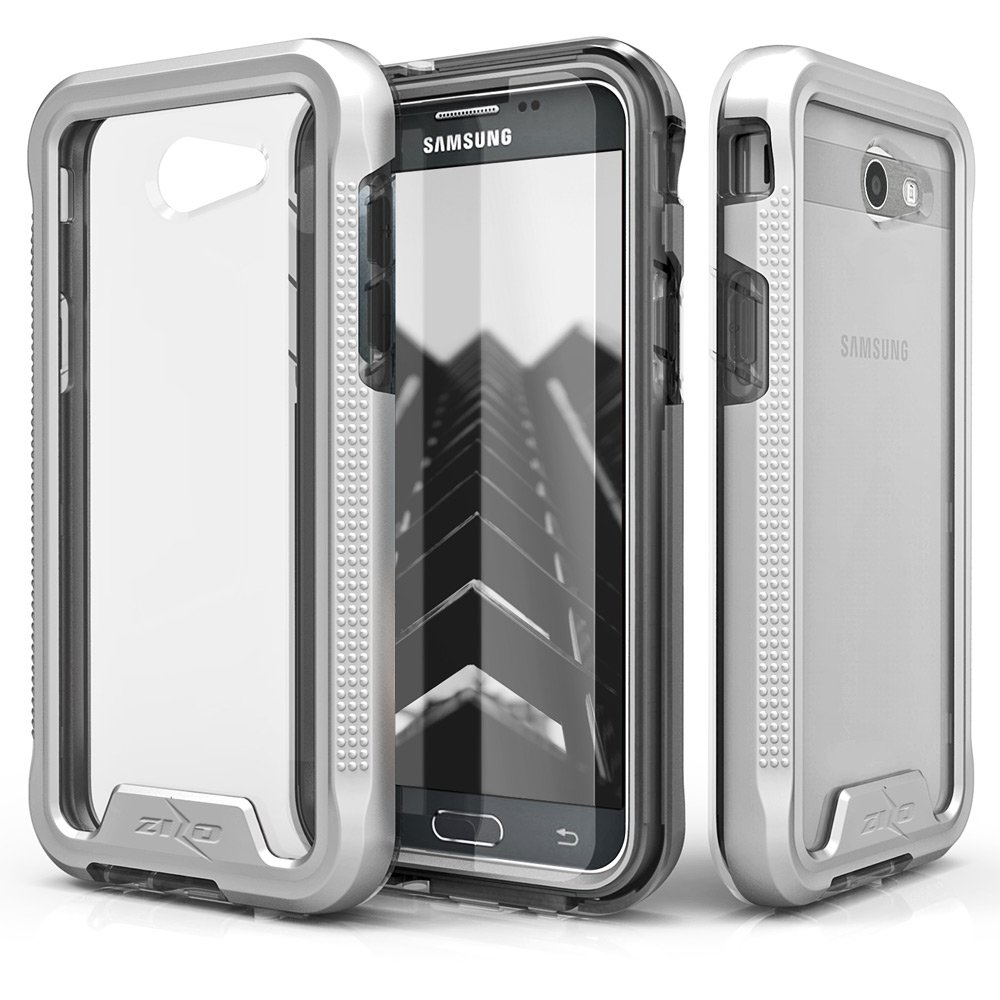 Zizo ION Series compatible with Samsung Galaxy J3 Emerge Case Military Grade Drop Tested with Tempered Glass Screen Protector SILVER CLEAR