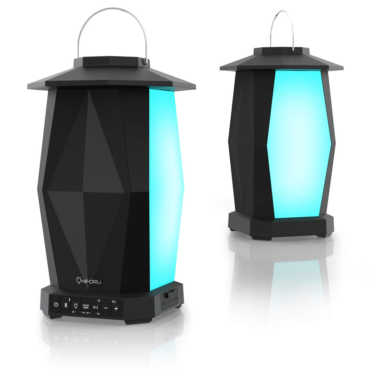 Onforu Bluetooth Speaker, 2 Pack 25W Waterproof Outdoor Lantern Speaker, Support Max.100 Speakers Synchronous Play, with HD Stereo Sound, Deep Bass, Mood Lights, 100ft Paring Range. (Bluetooth V4.2)