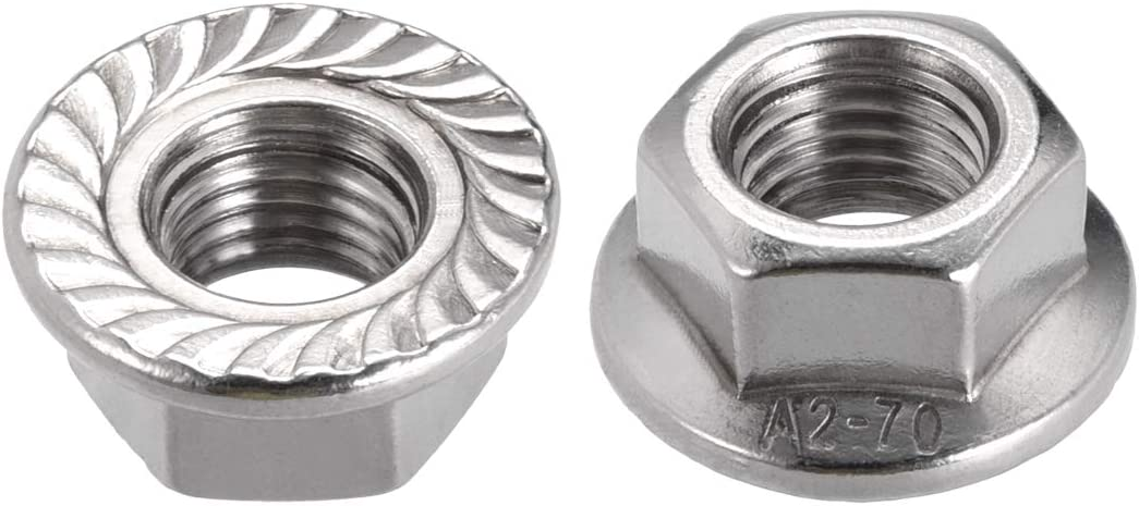 2 Pcs uxcell M16 Serrated Flange Hex Lock Nuts 304 Stainless Steel