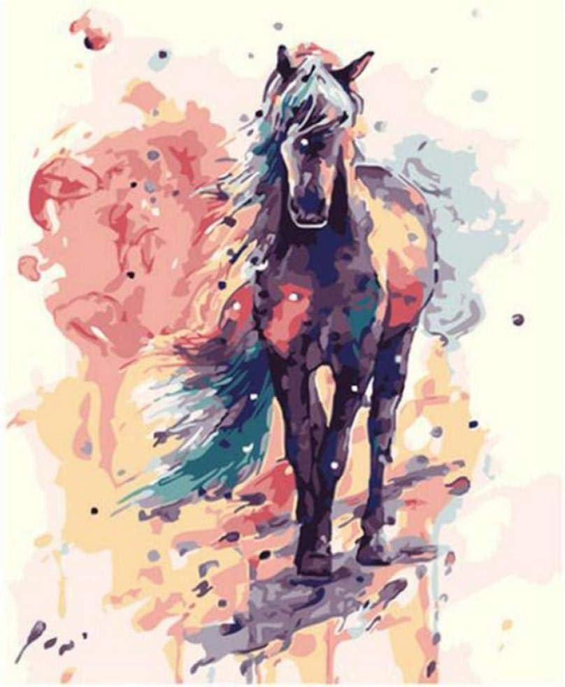 Hyllbb Diy pintura al óleo Painting By Numbers Animal, Decoración Nórdica, Pinturas Para La Pared De La Sala De Estar, Cuadros De Caballos Números-40 * 50Cm,With Frame
