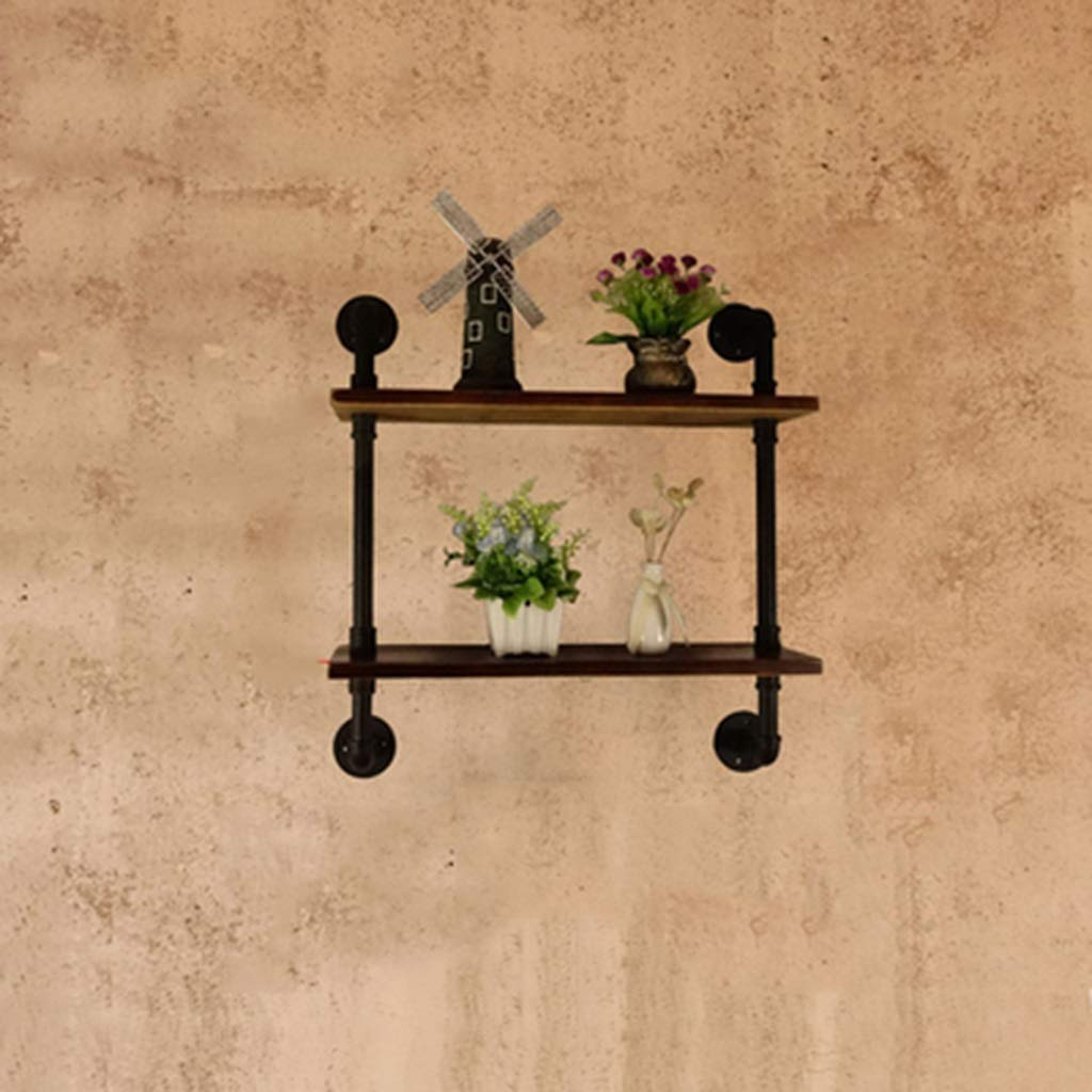 JJ_Industrial レトロな工業用風の壁の装飾錬鉄製の純木の床パイプラックシェルフシェルフシェルフラック壁掛け (サイズ さいず : A) B07RHWVMT5  A