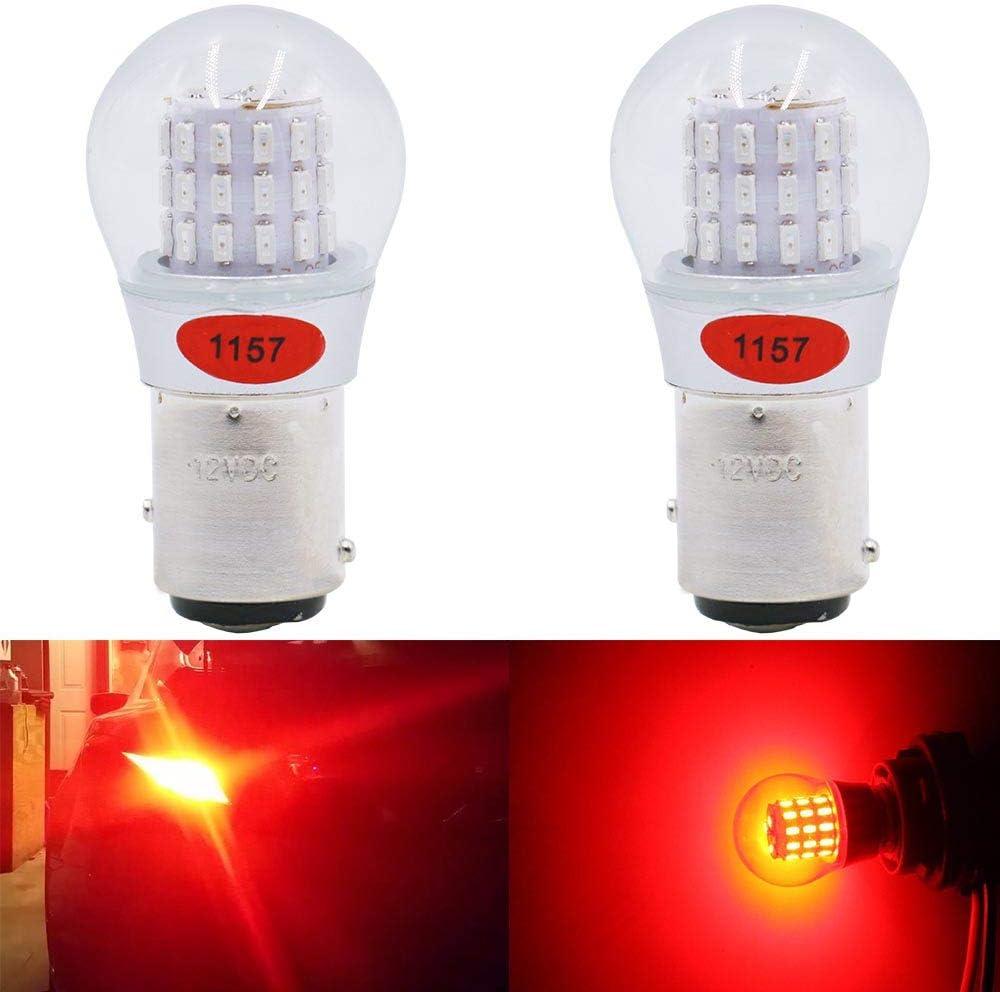 Paquete de 2 - 1157 BAY15D 1016 1034 7528 2057 2357 Luz LED Rojo Extremadamente Brillante, No Polarizada 12V-DC AMAZENAR 3014 39 SMD Bombilla Luces de Estacionamiento luces Traseras Luz de Freno