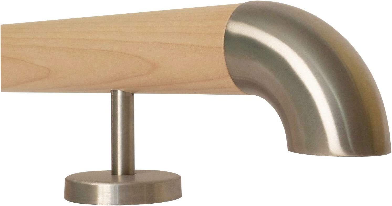 150 cm mit 3 Halter Halbkugel gefr/äst Ahorn Holz Treppe Handlauf Gel/änder Griff gerade Edelstahlhalter L/änge 30-500 cm aus einem St/ück//Beispiel