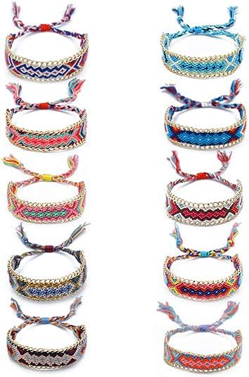 10 Pi/èces Bracelets DAmiti/é /à la Main Color/é Bracelet Amiti/é pour Fille Bracelets Tiss/és Femme et Homme Gar/çon