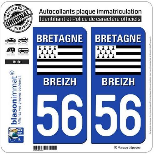 Logotype blasonimmat 2 Autocollants Plaque immatriculation Auto 56 Bretagne