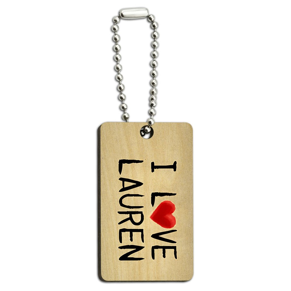 I Love Lauren Written on Paper Wood Wooden Rectangle Key Chain