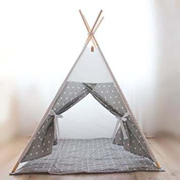 Fessyc@grey canvas teepeeplay tentchildrens teepeekids teepeebaby  sc 1 st  Amazon.com : childrens teepee tents - memphite.com
