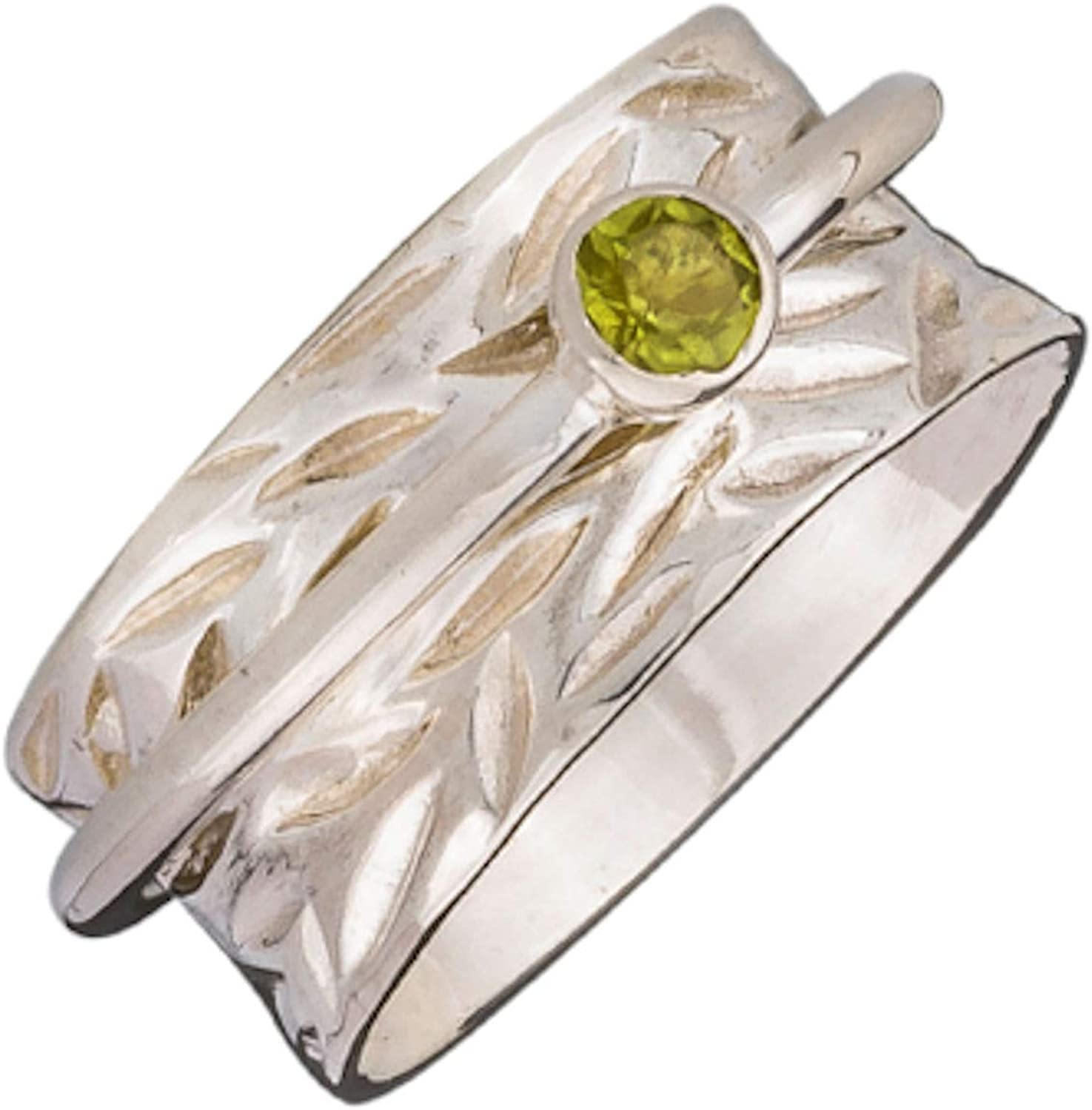 Energy Stone Heart Chakra Faceted 5mm Peridot Silver Meditation Spinning Ring Style SRA26-PER
