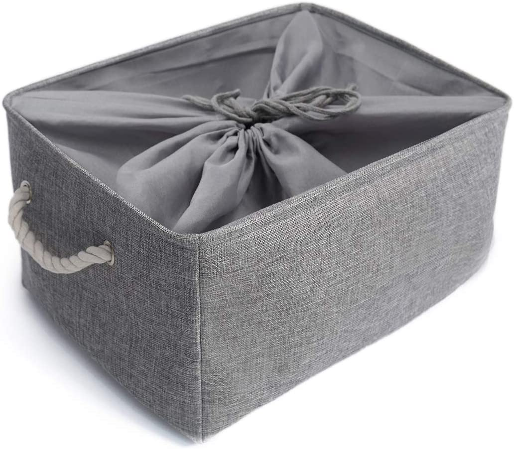 Mangata Washable Collapsible Thickened Canvas Fabric Storage Box with Drawstring (XLarge, Grey)