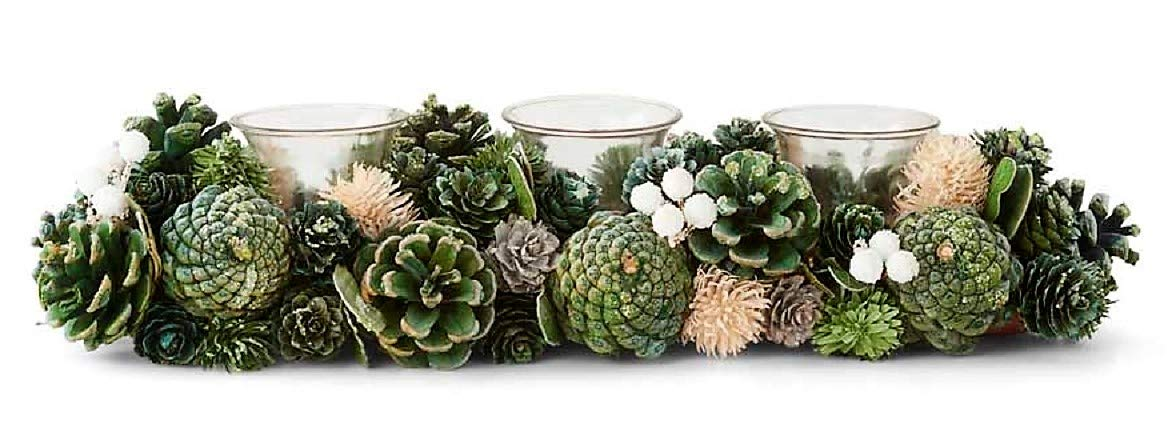 K & K Buyers' Choice! Christmas Pinecone Candle Holder (14'' L x 5'' (3 Candle))