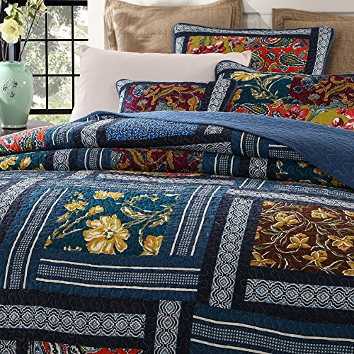 DaDa Bedding Bohemian Midnight Ocean Blue Sea Reversible Real Patchwork Quilted Bedspread Set - Dark Navy Floral Multi-Color Print - Queen - 3-Pieces by DaDa Bedding Collection (Image #1)