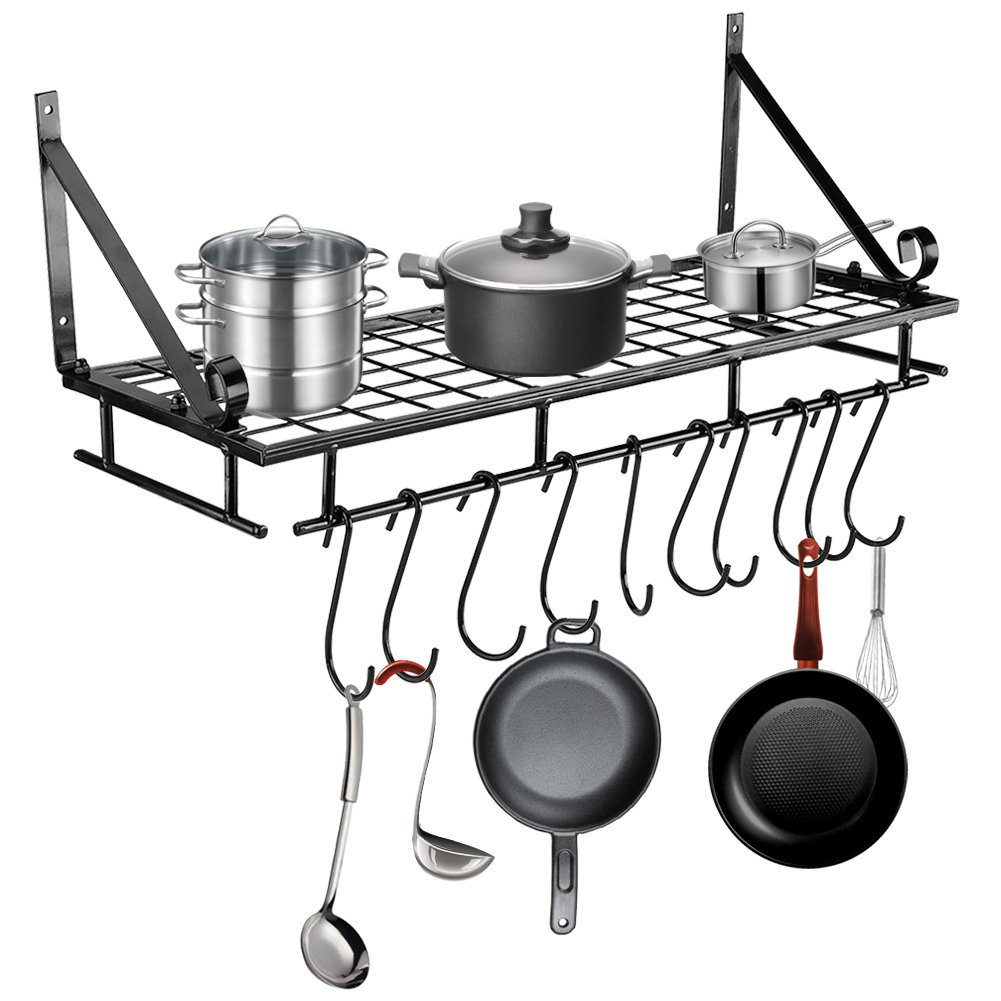 Kitchen Pan Rack, Wall Mounted Metal Hanging Rack Kitchen Storage Organiser with 10 Hooks, Black (Style 1) Cocoarm