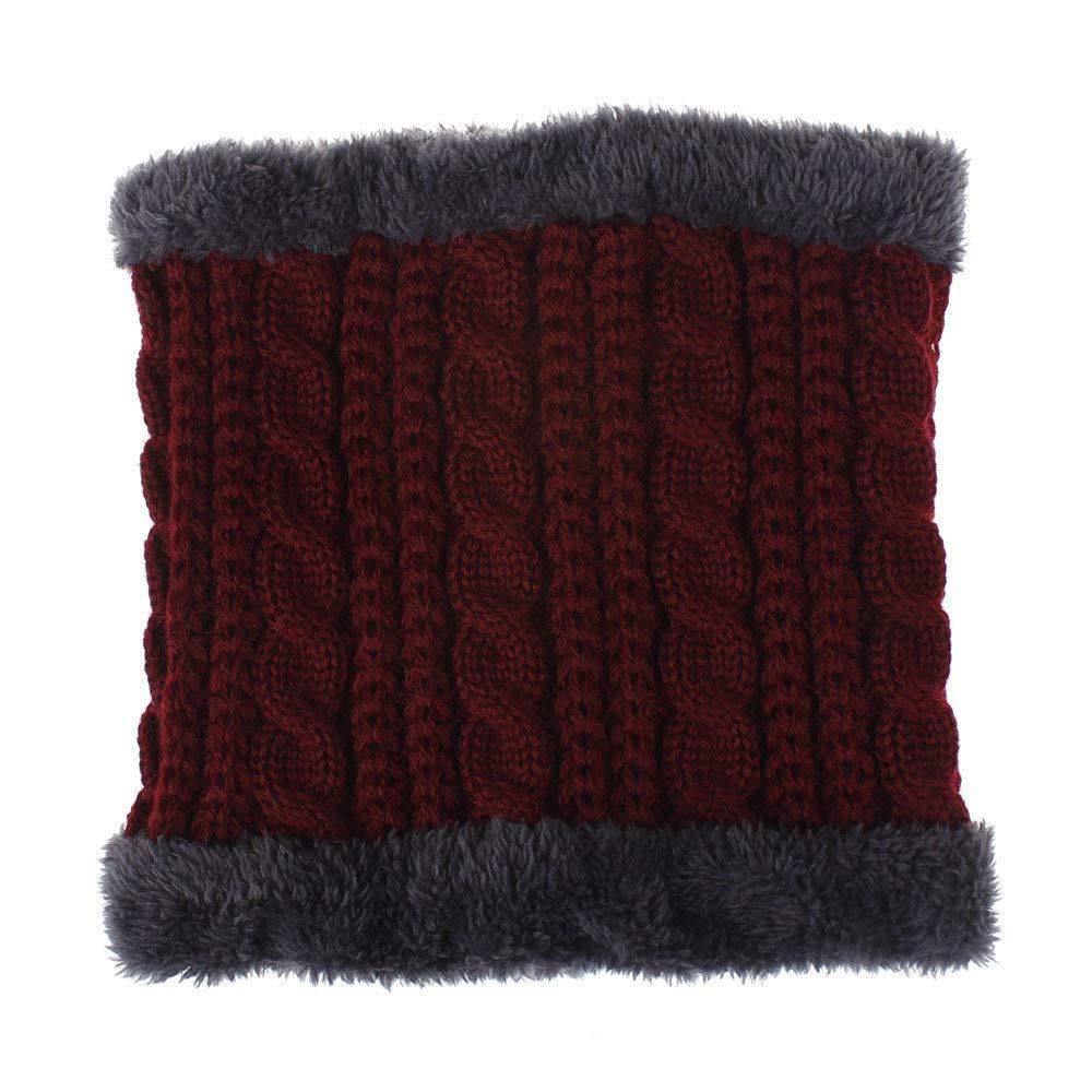 Jonecal Women Men Winter Warm Solid Collar Knitted Shawl Soft Neck Scarf Neckerchief (Wine)