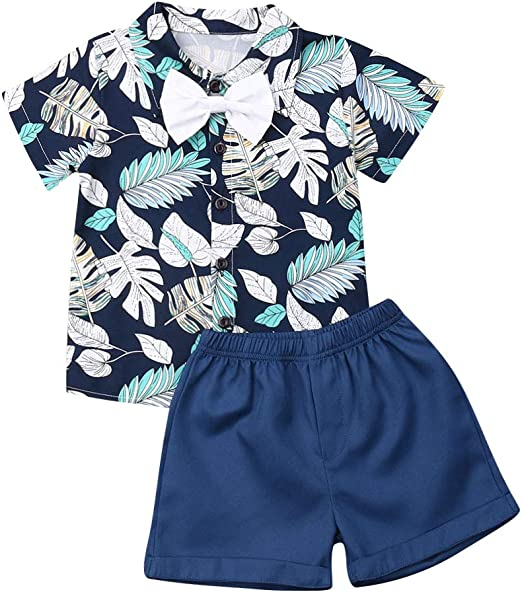 2pcs Baby Boys Summer Animal Print Underwaist Tops Shorts Kids Clothes Outfits