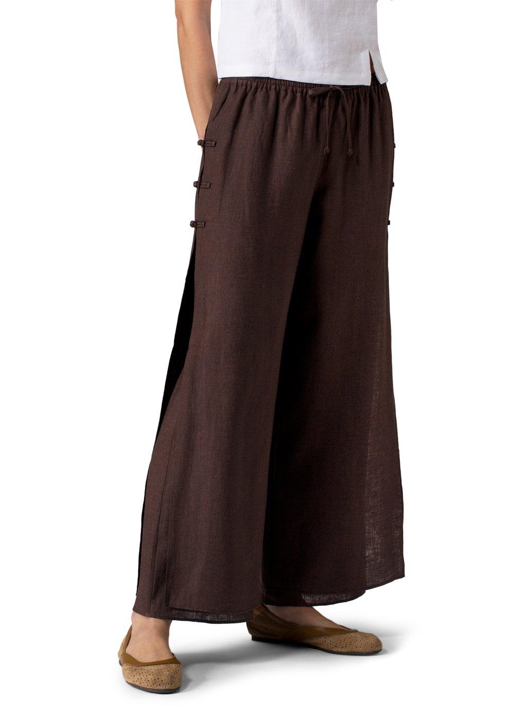Vivid Linen Double Layers Pants-2X-Dark Brown/Dark Brown