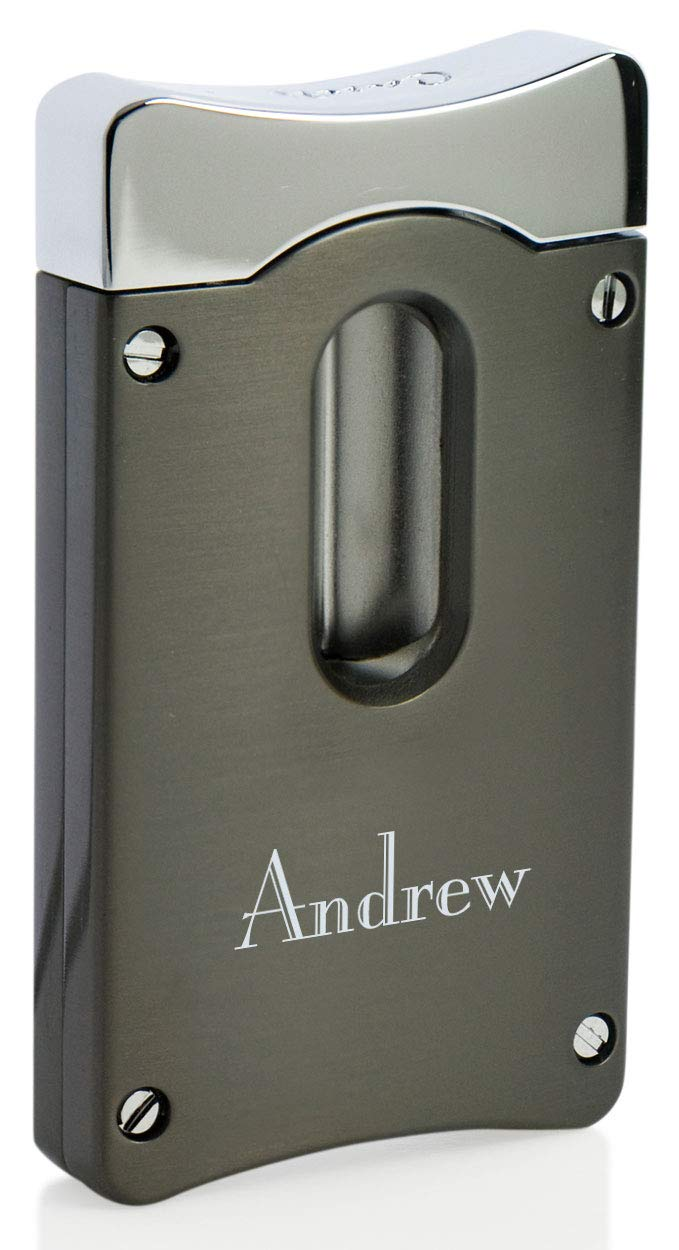 Personalized Caseti Gunmetal Wedge V Cigar Cutter with Free Laser Engraving (Text)