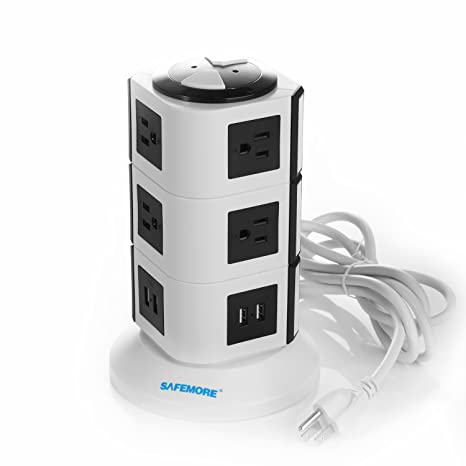SAFEMORE USB Power Strip 10-Outlet Charging Station and 4 Smart USB Ports  with 6 5-Feet Power Cord (White+Black)