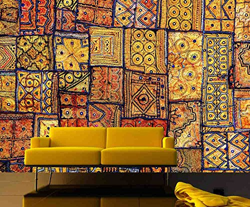 12 Feet wide by 9 Feet high. Prepasted wallpaper mural from a photo of: Indian Patchwork Carpet. Our murals are easy to install remove and reuse (hang again) If you watch and do as in our video by Muralunique (Image #1)