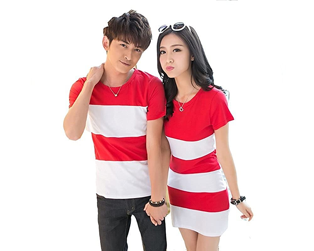 Melcom Cotton Korean red and White t Shirt Dress Combo