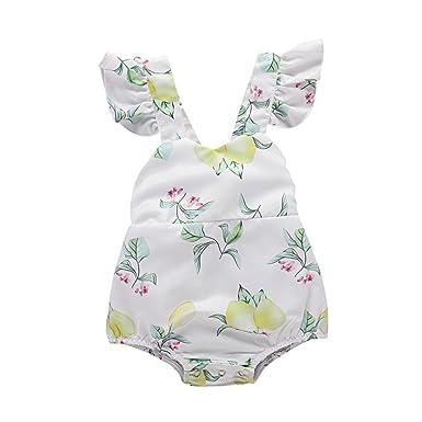2561a99b8d57 PPROBABY Toddler Girl Romper Ruffles Sleeveless Lemon Jumpsuit Summer  Bodysuit Sunsuit Outfit (12-18 Months