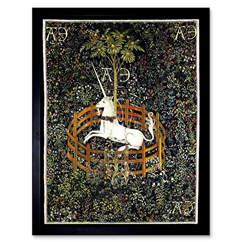 - Wee Blue Coo Painting Medieval Tapestry Unknown Hunt Unicorn Captivity Art Print Framed Poster Wall Decor 12x16 inch