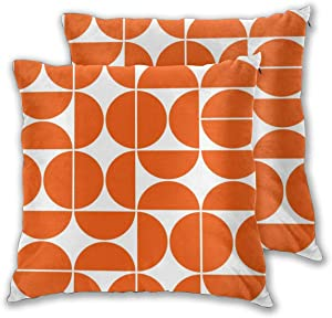 Mid Century Modern Orange Throw Pillow Covers,Geometric Pattern Decorative Pillowcase Double Side Print Cushion Covers for Sofa Couch Bed 18x18 Inches,Set of 2