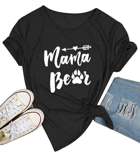 849354d022b LAMOSKY Womens Short Sleeve O Neck Summer Mama Bear Print Pullover Tops T  Shirts Size S