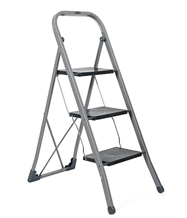 Gimi Tiko 3 Steps Steel Foldable Ladder (Blue, Grey and White)