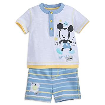 427c740602d6 Amazon.com  Disney Mickey Mouse T-Shirt and Shorts Layette Set for ...