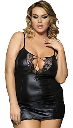 1824fb3fb0 MarysGift Womens Ladies Sexy Wet Look PU Faux Leather Plus Size Teddy  Bodysuit Lingerie and G-String Set  Amazon.co.uk  Clothing