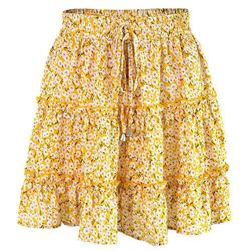 Women's High Waist Flounce Ruffle Yellow Color Floral Print Mini Pleated Skirt, Size S=Tag M ()