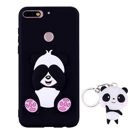 HopMore Panda Funda para Huawei Y7 2018 / Honor 7C Silicona con Diseño 3D Divertidas Carcasa TPU Ultrafina Case Antigolpes Caso Protección Cover ...