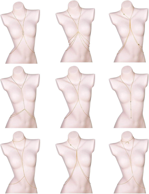 Hanpabum Sexy Harness Body Chain Belly Waist Chain Bikini Belly Chain Necklace Fashion Summer Beach Body Accessories Jewelry Gold Tone