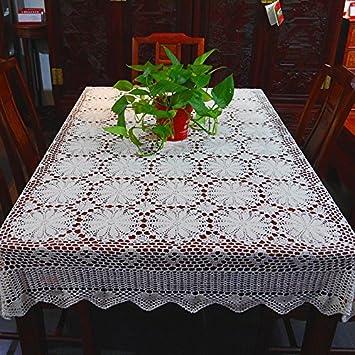 hoomy mano ganchillo mantel blanco algodón Mantel Floral Encaje superposiciones de mesa hecho a mano manteles de comedor: Amazon.es: Hogar