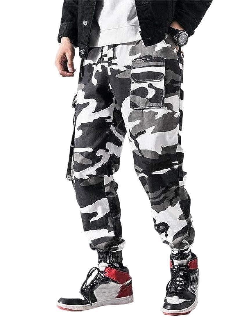 pipigo Mens Elastic Waist Multi Pockets Harem Jogging Cargo Trousers Pants
