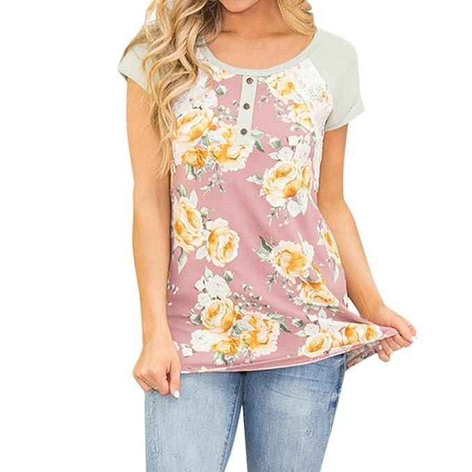 06abff66a038 sunshineBoby Frauen Casual Floral Printed Spitze Nähte Button O-Neck Tops  Bluse,Damen Vordere Reihe der Tasten T-Shirt Rundhals Kurzarm Ladies Sommer  Casual ...