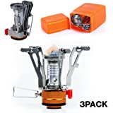 PARTYSAVING 3-Pack Collapsible Mini Camping Stove Pocket Size Burner with Piezo Ignition System, APL1444