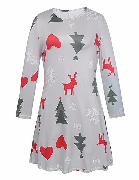 Mujer Chicas Navidad Papá Noel A cuadros Imprimir Flared y Fit Swing Dress: Amazon.es: Ropa y accesorios