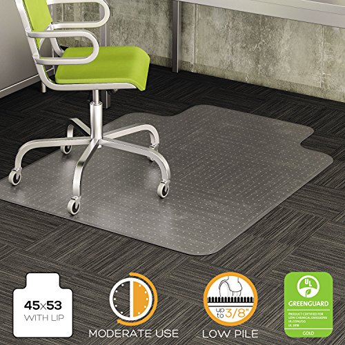 CM13233 DuraMat Chair Mat For Low Pile Carpet, Rectangle, Vinyl, 45 x 53, Clear ()