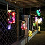 Solar Mason Jar Lights, Solar powered LED Garden Decor Outdoor hanging lights , Lamps for Christmas Tree Lawn Patio Yard party Wedding decoration, for year-round Outdoor Using (1 pcs,Multicolor)