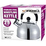 Brand New PRIMA Whistling Stainless Steel Traveling Kettle Fishing Caravan Home Gas 2.5 Litre Holiday Home (Shiny Stainless Steel)